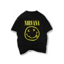 NIRVANA Emoji Printed Short Sleeve Round Neck Graphic Tee