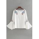 Chic Floral Embroidered Boat Neck Long Sleeve Flared Cuff Pullover Blouse