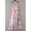 Summer's Pink Floral Printed Spaghetti Straps Sleeveless Midi Slip Dress