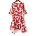 V Neck Half Sleeve Floral Printed A-Line Midi Asymmetrical Dress