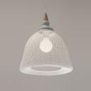 White Mesh Shade Pendant Light Modern, 13'' W