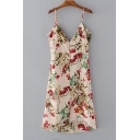 Chic Single Breasted Back Spaghetti Straps Sleeveless Floral Printed Midi Cami Dress