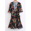 New Arrival Short Sleeve V-Neck Belt Waist Ruffle Hem Mini Wrap Dress