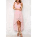 Elegant V-Neck Sleeveless High Low Hem Plain Asymmetric Chiffon Dress