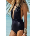 Hot Fashion Plain Halter Neck Sexy Hollow Out Open Back One Piece Swimwear