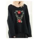 Loose Women's Embroidery Floral Pattern Long Sleeve Round Neck Pullover Sweater