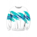 3D Ink Striped Printed Round Neck Long Sleeve Pullover Sweatshirt