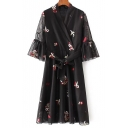 Wrap V Neck Flared Sleeve Floral Embroidered Tie Waist Chiffon Midi A-Line Dress