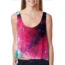 Fashion Galaxy Color Block Printed Sleeveless Scoop Neck Tank Top