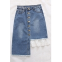 New Stylish Patchwork Single Breasted Asymmetric Denim Skirt