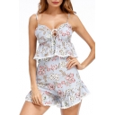 Hot Fashion Floral Printed Spaghetti Straps Sleeveless Top with Shorts
