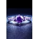 New Fashion Luxurious Purple Ring with Diamond Studded