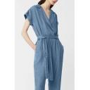 New Fashion Denim Notched Lapel Short Sleeve Plain Casual Leisure Jumpsuits