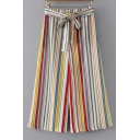 High Rise Bow Tie Waist Colorful Striped Printed Wide Legs Pants