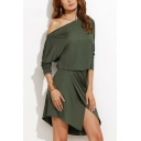 Hot Fashion One Shoulder Long Sleeve Plain Slit Front Mini Asymmetrical Dress