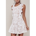 Chic Crisscross Open Back Sexy Lace Inserted Round Neck Mini A-Line Dress