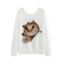 Cute Cartoon Cat Printed Round Neck Long Sleeve Pullover Sweatshirt