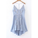 New Fashion Embroidered Open Back High Low Hem Midi Slip Dress