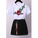 Fashion Two Pieces Embroidery Letter Floral Appliqued Short Sleeve Round Neck Tee with Embellished Skirt