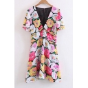 Colorful Floral Printed Plunge V-Neck Short Sleeve Mini A-Line Dress