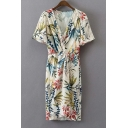 New Fashion Plunge Neck Short Sleeve Knotted Waist Floral Print Midi Dress
