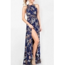 Sexy Open Back Halter Neck Sleeveless Floral Printed Split Front Maxi Beach Dress