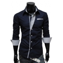 Lapel Collar Long Sleeve Basic Fitted Buttons Down Plain Shirt