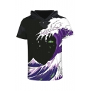 Digital Wave Printed Short Sleeve Hooded Color Block Tee