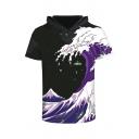 Digital Wave Printed Short Sleeve Hooded Color Block Tee