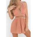 New Arrival Halter Neck Sleeveless Lace Trim Hollow Out Waist Plain Rompers