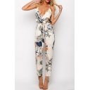 Hot Fashion Plunge Neck Spaghetti Straps Floral Printed Jumpsuits