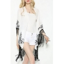 New Arrival Open Front Contrast Tassel Embroidery Pattern Cover Ups