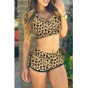 Fashion Leopard Printed Tank Top High Waist Swimwear Sets