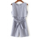 Fake Two-Piece Round Neck Sleeveless Striped Printed Tie Waist Casual Rompers
