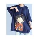 Cartoon Lovely Kid Printed Round Neck 3/4 Sleeve Oversize Loose T-Shirt