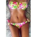 Hot Fashion Sexy Bandeau Top Bow Side Bottom Floral Printed Bikini Swimwear