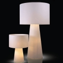 White Mushroom Shape Table Lamp/Floor Lamp with Cylinder Shade in M/L Size