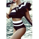 New Stylish Striped Color Block Ruffle Front One Shoulder Sleeveless Top with High Waist Shorts