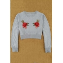 Hot Fashion Floral Embroidered Round Neck Long Sleeve Cropped Pullover Sweatshirt