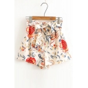 New Arrival Fashion Floral Pattern Bow Waist Loose Shorts