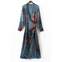 New Fashion Floral Print Long Sleeve Plunge Neck A-Line Maxi Wrap Dress