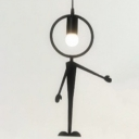 "Metal Man Led Hanging Pendant Light Black ""This Way"""