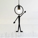 "Metal Man LED Hanging Pendant Light Black ""Look"""