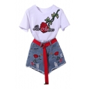 Two Pieces Embroidery Letter Floral Appliqued Short Sleeve Round Neck Tee with Denim Shorts