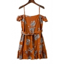 Women's Spaghetti Straps Short Sleeve Belt Waist Floral Printed Mini Cami Dress