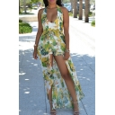 Hot Fashion Sexy Open Back Plunge Neck Sleeveless Floral Printed Rompers