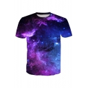 Hot Fashion 3D Galaxy Printed Short Sleeve Round Neck Pullover T-Shirt