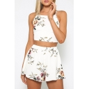 Hot Fashion Spaghetti Straps Cropped Top Loose Leisure Shorts Floral Printed Co-ords