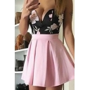 Hot Fashion Sexy Bandeau Sleeveless Floral Printed Mini A-Line Dress