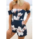 Chic Floral Printed Short Sleeve Off The Shoulder Rompers with Pockets